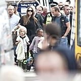 Angelina Jolie arrives in Glasgow with Shiloh Jolie-Pitt and Zahara Jolie-Pitt off a Virgin train.