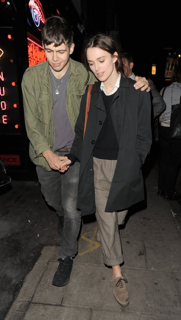 """Keira Knightley linked arms with boyfriend James Righton for an evening out in London yesterday. Following dinner at La Bodega Negra, they stopped at London's outpost of The Box, where, along with Downton Abbey's Dan Stephens, they saw a show from pianist Jean-Philippe Rio-Py.   Keira's Interview cover and feature just came out, and in the publication she opened up about her forthcoming film, Seeking a Friend at the End of the World. She stars in the end-of-the-world comedy opposite Steve Carell. She said of the project, """"Well, Steve is absolutely wonderful. I loved his work on Little Miss Sunshine. He has this amazing ability to be incredibly funny but have that pathos at the same time — sort of that crying-clown thing. The movie itself has comic moments, but it's about the end of the world, so obviously it has an apocalyptic feel to it that's not that comic, because everybody dies . . . Other than that, though, it's hilarious!"""""""