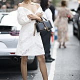 Shanina Shaik Was Seen Wearing a White Lace Minidress