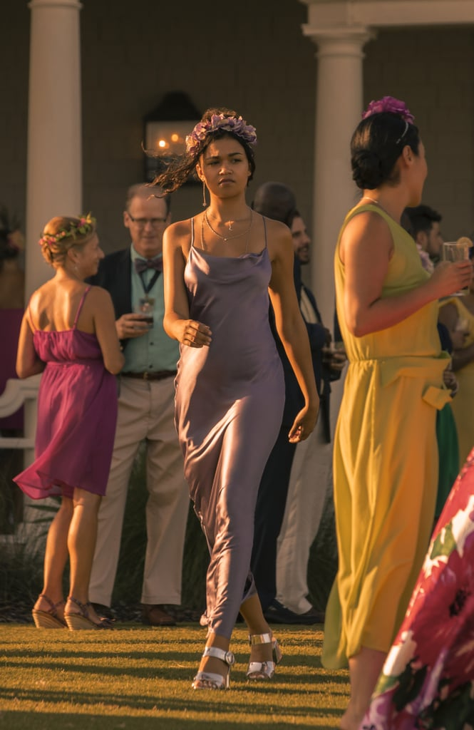 Kiara's Purple Silk Dress on Outer Banks