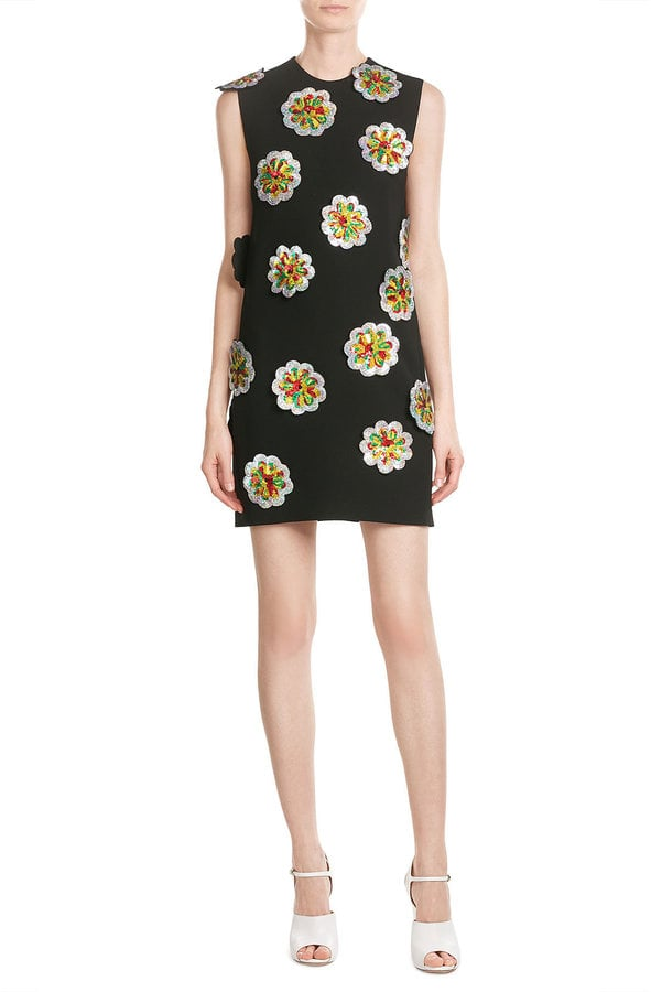 Victoria, Victoria Beckham Crepe Shift Dress with Sequin Flower Applique