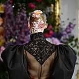 We're thankful for the chance to inspect the embroidery, full sleeves, and flower detail at the Alexis Mabille Haute Couture Fall 2013 show.