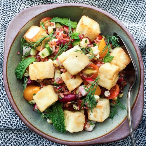 Red Rice Salad With Crispy Tofu