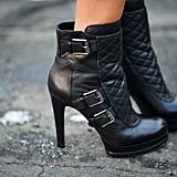 Armed with cool-girl quilted booties.