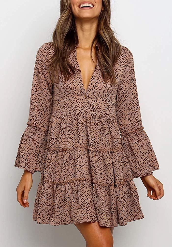 MITILLY Ruffle Long-Sleeve V-Neck Leopard Dress