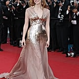 Jessica Chastain stunned in a gold sequined Gucci dress at the Lawless premiere.