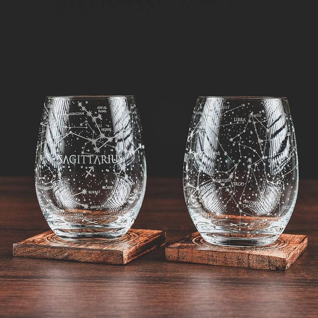 Greenline Goods Sagittarius Stemless Wine Glasses