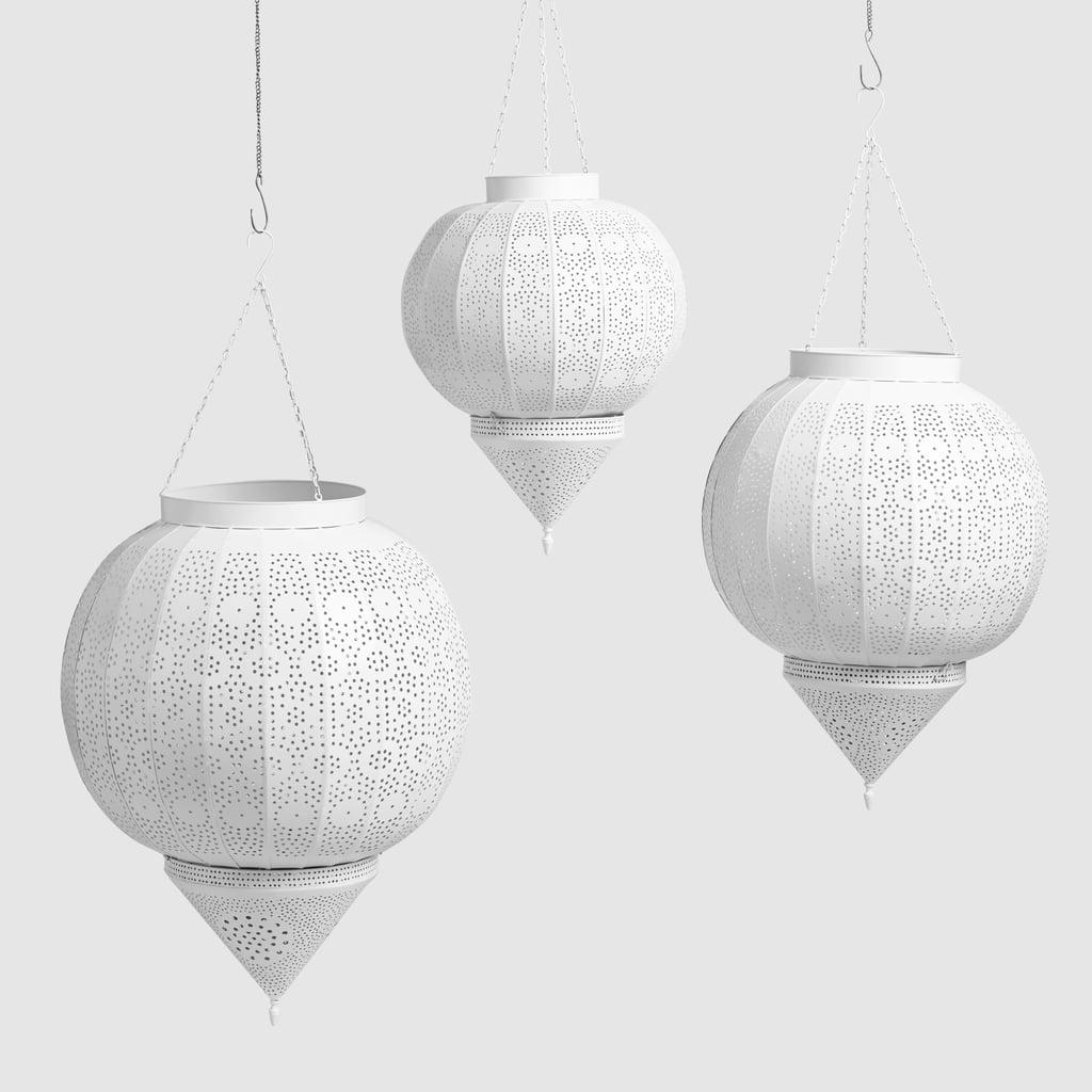 White Metal Amira Teardrop Hanging Lantern (from $60)