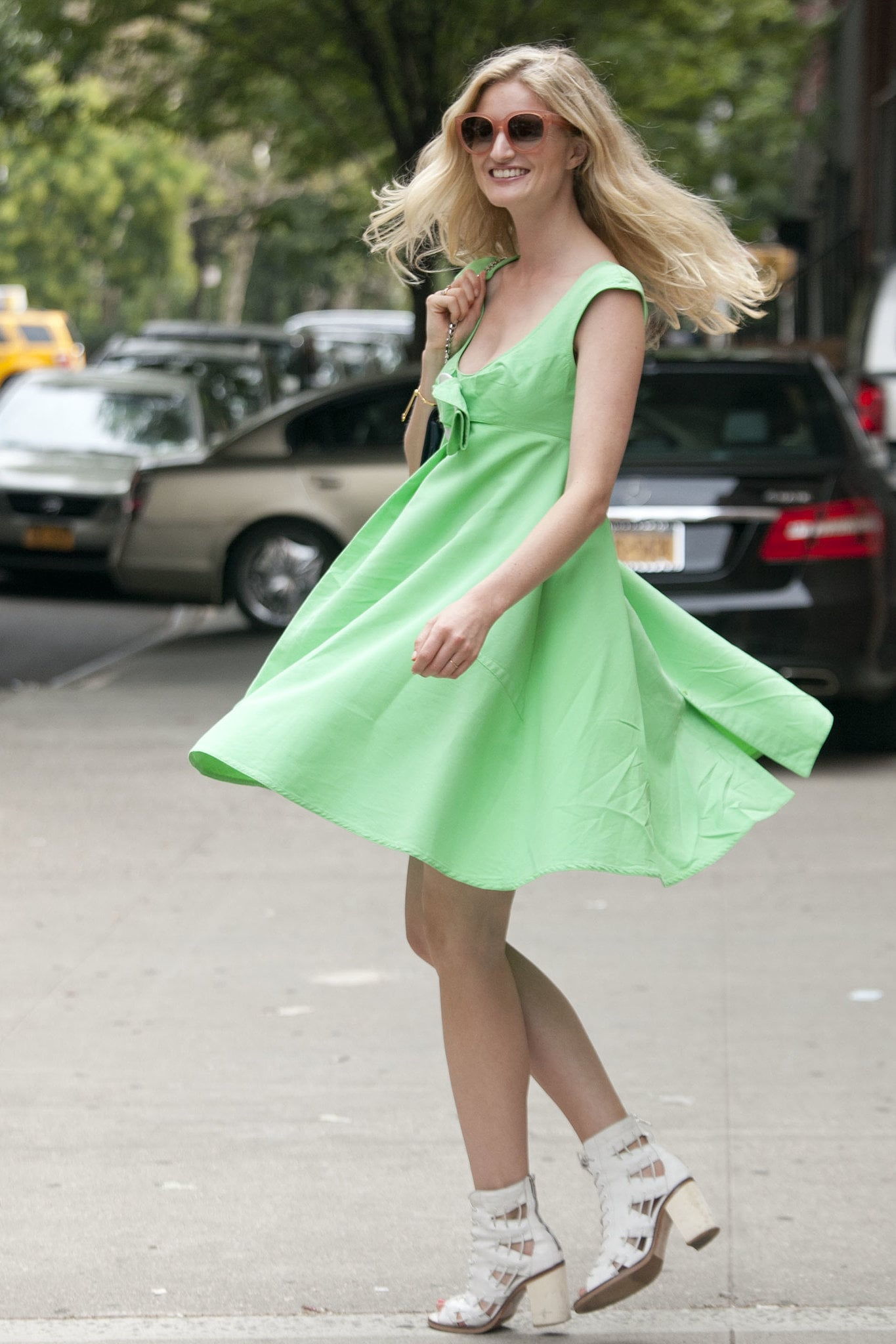 Candice Lake makes the case for a bright, feminine dress made for twirling.