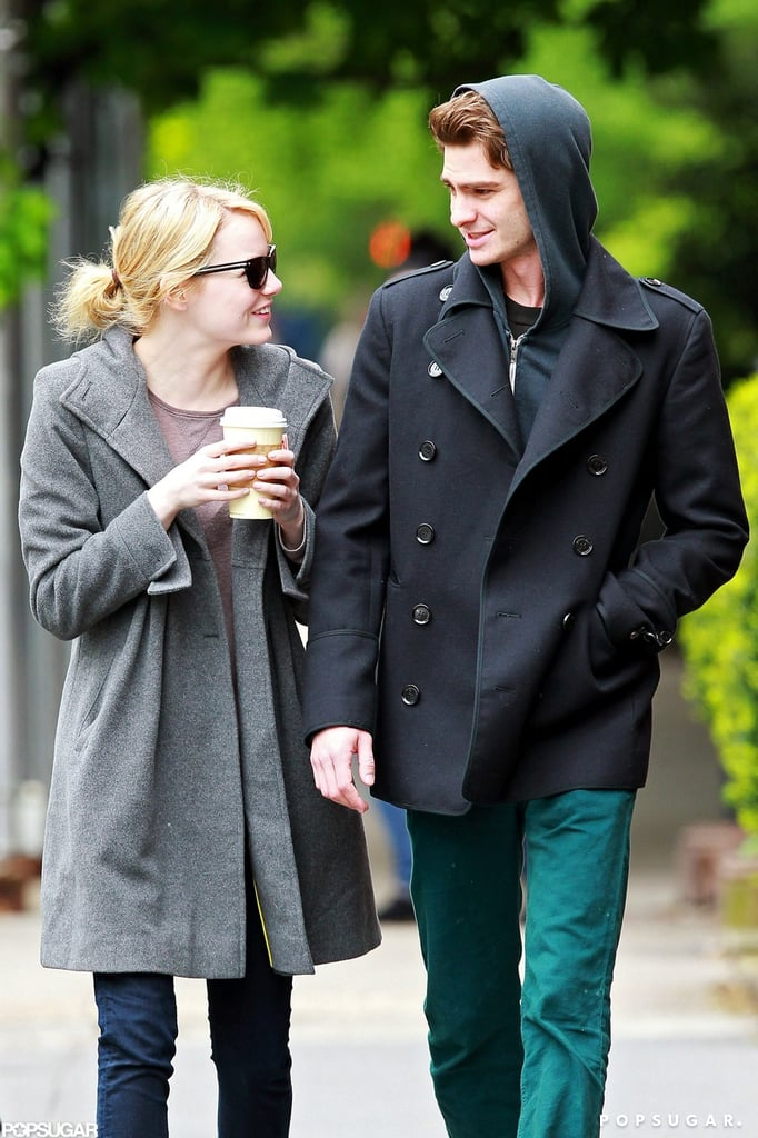 Emma Stone and Andrew Garfield stepped out for coffee in their NYC neighborhood yesterday. The pair has a few more weeks to spend in the Big Apple before embarking on a press tour ahead of The Amazing Spider-Man's July release. The movie has already been getting tons of buzz, including an OPI nail polish collection inspired by the onscreen couple. Andrew and Emma have been spotted holding hands and laughing while walking through the city multiple times this week. They took a sweet stroll on Tuesday after it was announced that Andrew was nominated for a Tony for his role in Death of a Salesman. Both actors are climbing the ranks in our PopSugar 100 faceoff game — be sure to play now for a chance to win $2,500!