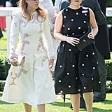 When she attended Royal Ascot in 2017, Beatrice chose a white dress embroidered with pink and blue beads. Beatrice opted for a black-and-white polka-dot dress.
