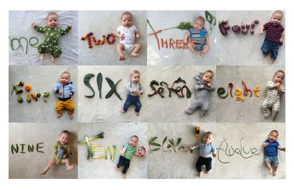 Baby's Monthly Veggie Photo Series