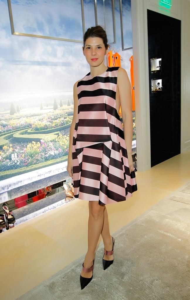 Marisa Tomei in Striped Dior Dress