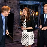 Prince Harry and Kate could barely keep it together as they channelled their inner wizards with Prince William at the Harry Potter set in April 2013.