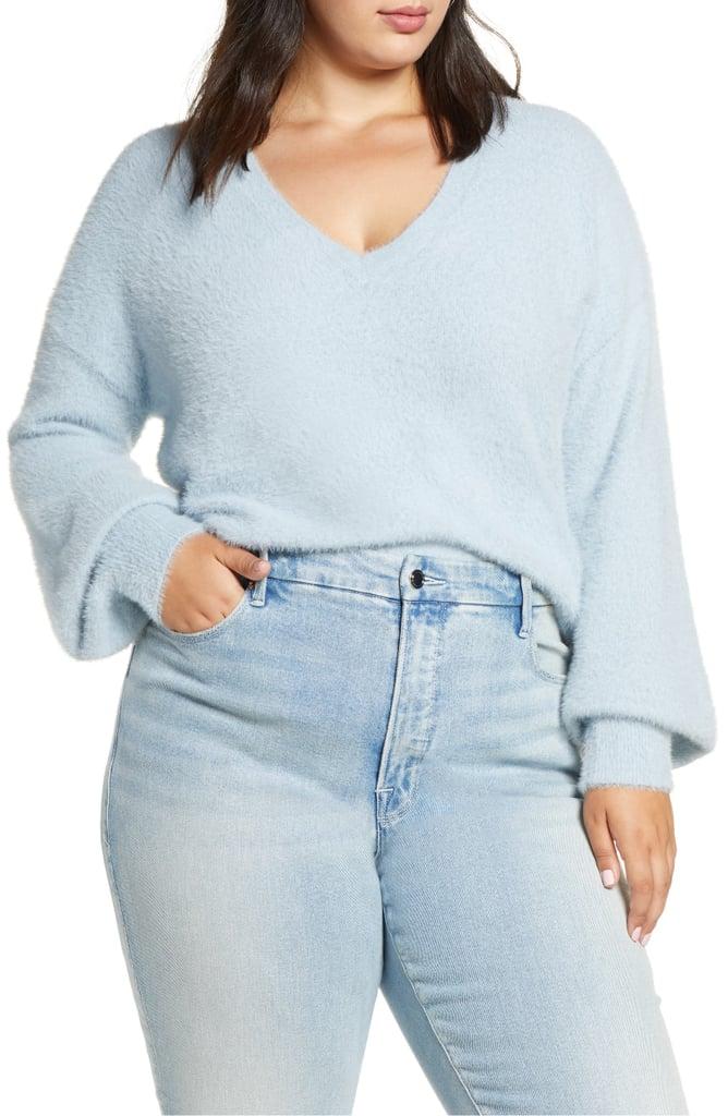 Halogen Fuzzy V Neck Sweater