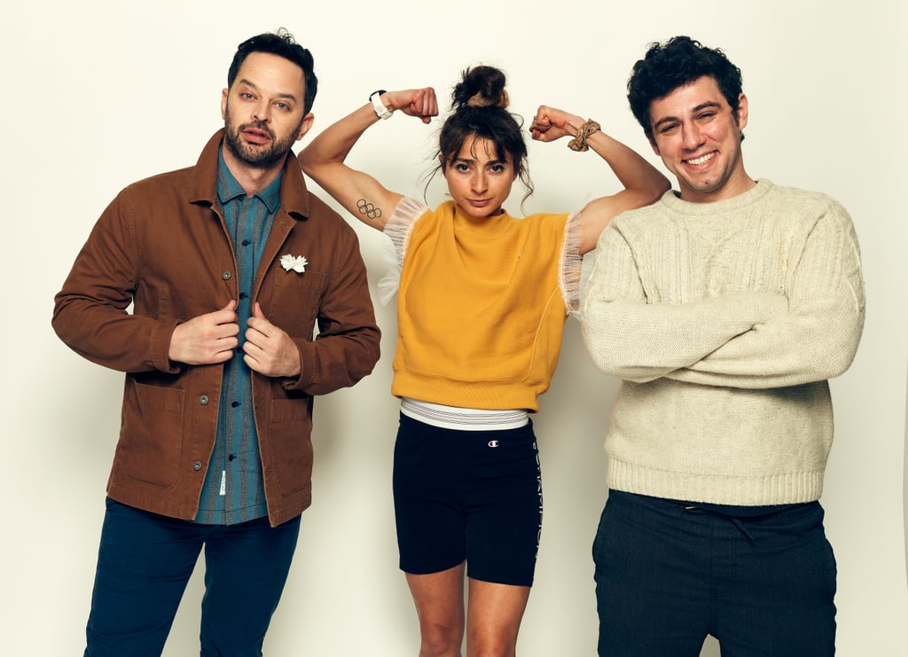 """Pappas with her Olympic Dreams costar Nick Kroll (left) and husband and director Jeremy Teicher (right) PS: Your new book, Bravey, is coming out soon. It's a memoir in essays, so can you talk about what was maybe the hardest for you to write about? AP: I think the book will probably surprise a lot of people, because running is a backdrop, but it's really about growing up without my mom. That was the hardest thing I faced. I lost my mom to suicide when I was 4, almost 5. Just recalling the few memories that I have of her . . . they were really difficult. I think to see that side of pain — that really, really bad pain — at a young age has framed pain for me in my life. You might see the kite tail of how I feel in my Instagram posts, you might see the poem at the end, but the book is more like the root, like, where did this really come from? I think a book is a more appropriate format for those origin stories than an Instagram post. So, I'm so excited for people to read the real core of me. PS: How does being an athlete play into your roles as a writer and filmmaker? AP: I think so many people see writing, or they see running, as something like: """"This person was born with these gifts."""" And it's true. You were born with the body you're born with and maybe it has a certain potential. But more than anything, I think what I've found through running that's carried over into the creative world is that it's something that you can put work into, and learn, and be a student of, and improve. And I saw that because I was the worst on my team at Dartmouth when I got there. I was the worst in the league. I was not good.  PS: But that's important for people to hear, because I think we often assume every Olympic athlete was always the star of everything that they did, every team they were on. AP: Yes! I could not run four miles without walking. I grew up in California and went to school in New Hampshire and I remember feeling so far from home, and far in the way of my body was not do"""