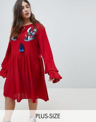 Glamorous Curve Smock Dress With Tiered Sleeve And Embroidery