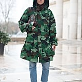 Wear a Tough Camo Print Jacket With Ladylike Shoes