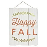 Happy Fall Lit Wood Hanging Wall Sign