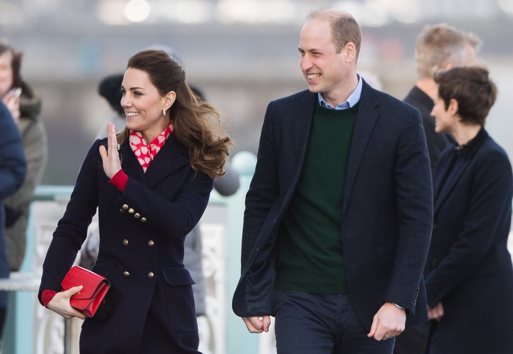 SWANSEA,  - FEBRUARY 04: Prince William, Duke of Cambridge and Catherine, Duchess of Cambridge visit Mumbles Pier on February 04, 2020 in Swansea, Wales . (Photo by Samir Hussein/WireImage)