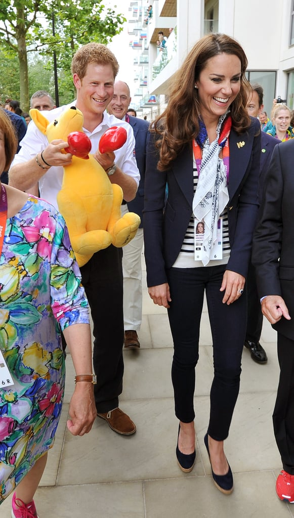 Prince Harry and Kate goofed off around Olympic Park.