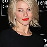 Julianne Hough wore bright red lipstick with a black dress.