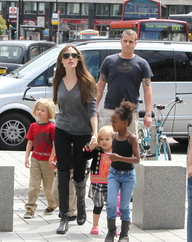 Angelina Jolie out in London with her kids.
