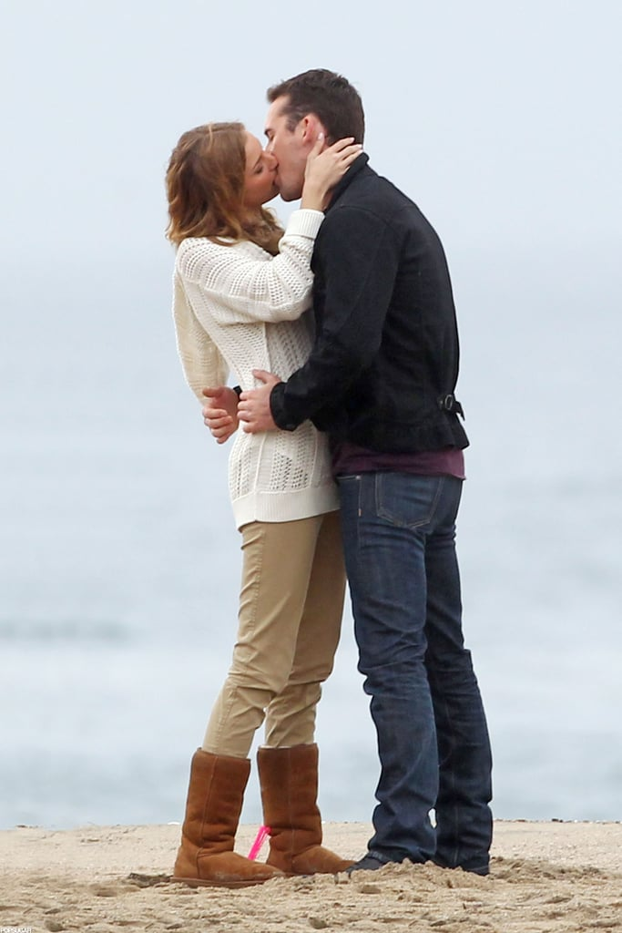 Emily VanCamp kissed costar Barry Sloane on the beach while filming for Revenge.