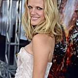 Brooklyn Decker smiled on the blue carpet in LA for the West Coast premiere of Battleship.