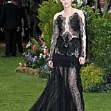 Kristen Stewart chose a sexy, lacy Marchesa gown for the London premiere.