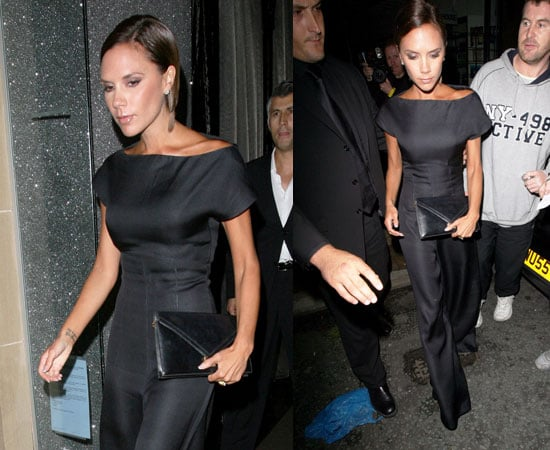 Photos of Victoria Beckham in a Black Jumpsuit in Manchester