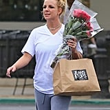 Britney Spears picked up a few items including flowers at Gelson's.