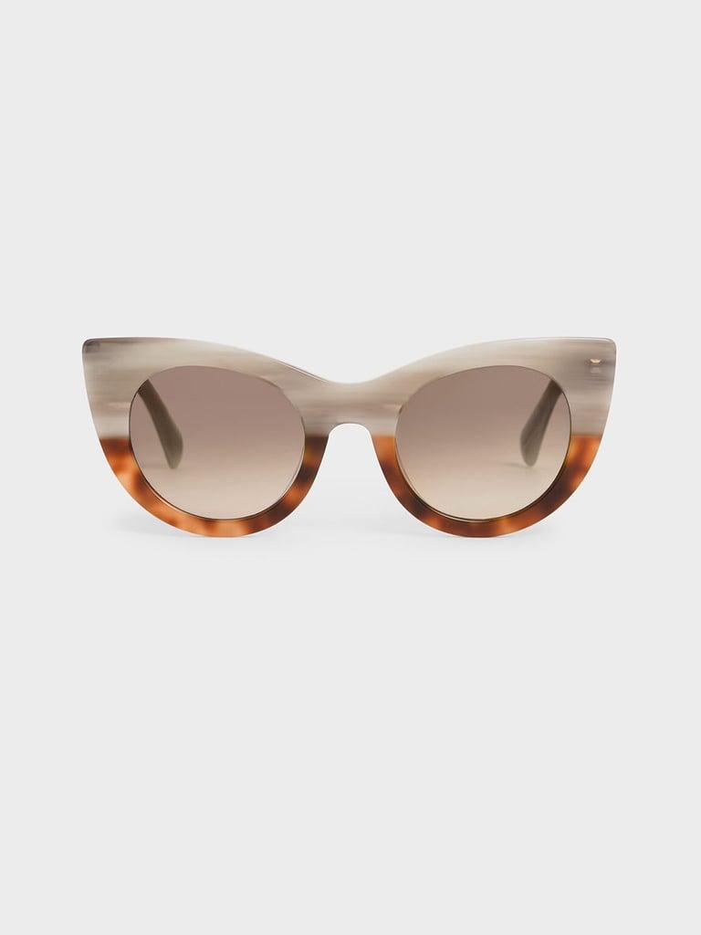 Charles & Keith Tortoiseshell Thick Frame Cat-Eye Sunglasses