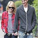 Emma Stone and Andrew Garfield shared a laugh while walking together in New York City.