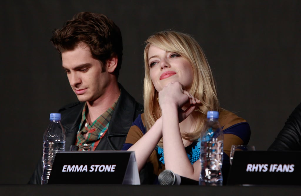 Andrew Garfield and Emma Stone spoke at a The Amazing Spider-Man press conference in Seoul.