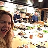 Drew Barrymore and her husband are eating their way through Tokyo.