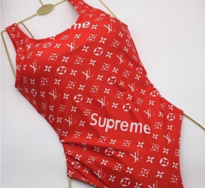 f70d7fe51fb Shop Inspired Swimsuits | Khloe Kardashian Red Louis Vuitton Supreme ...