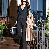 Amal Clooney Black Pantsuit in NYC