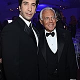 David Schwimmer and Giorgio Armani posed together at the Haiti: Carnival in Cannes event.