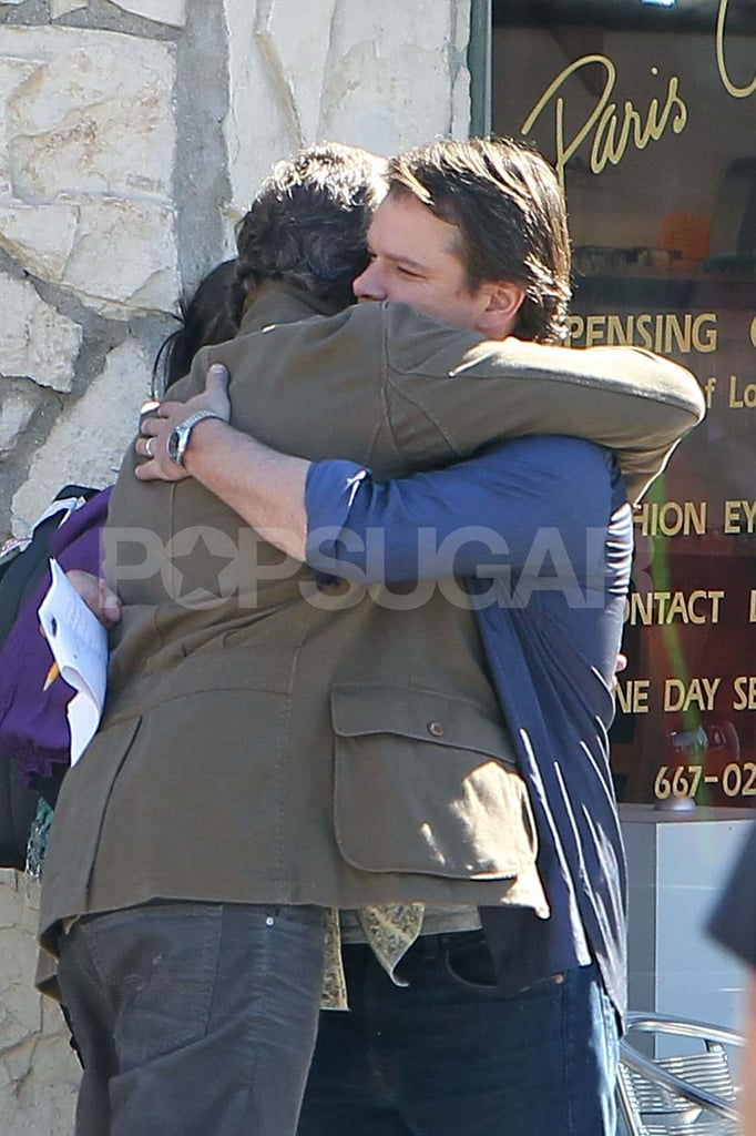 Matt Damon Shares a Serious Man Hug on Set