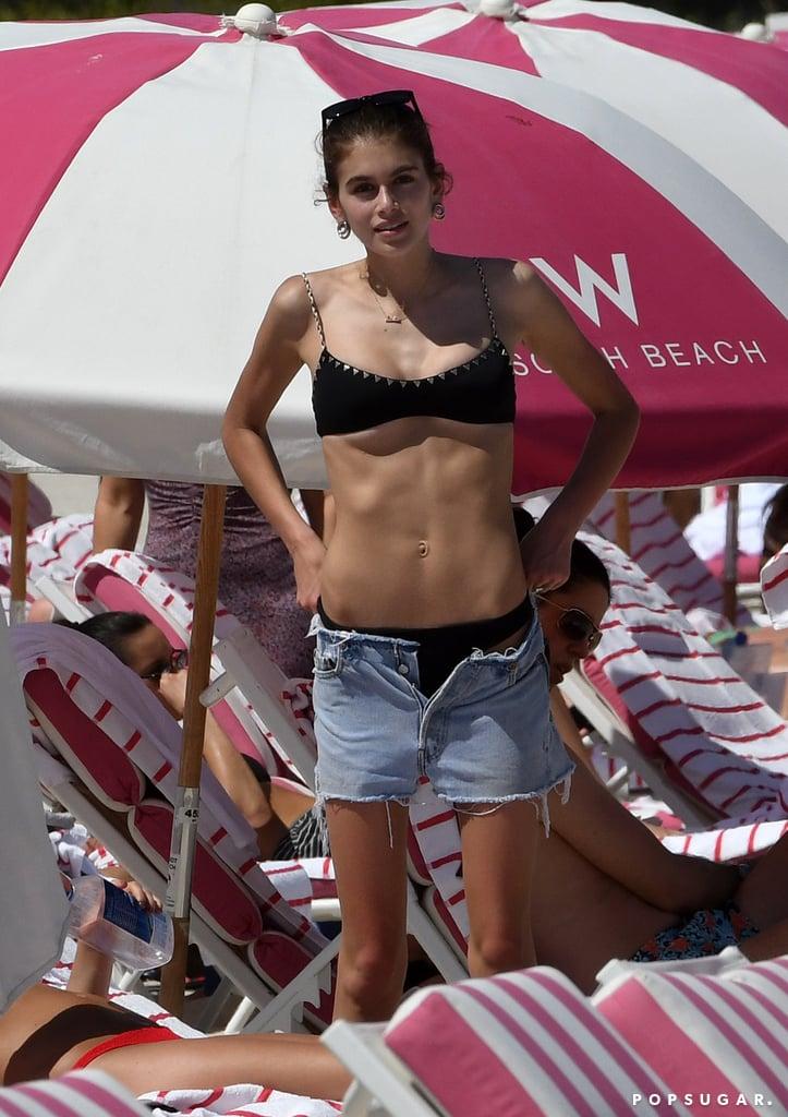 141bd6f5b0528 Kaia Gerber Black Bikini in Miami