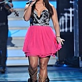 Skylar Laine stuck with her country roots and performed in cowboy boots.