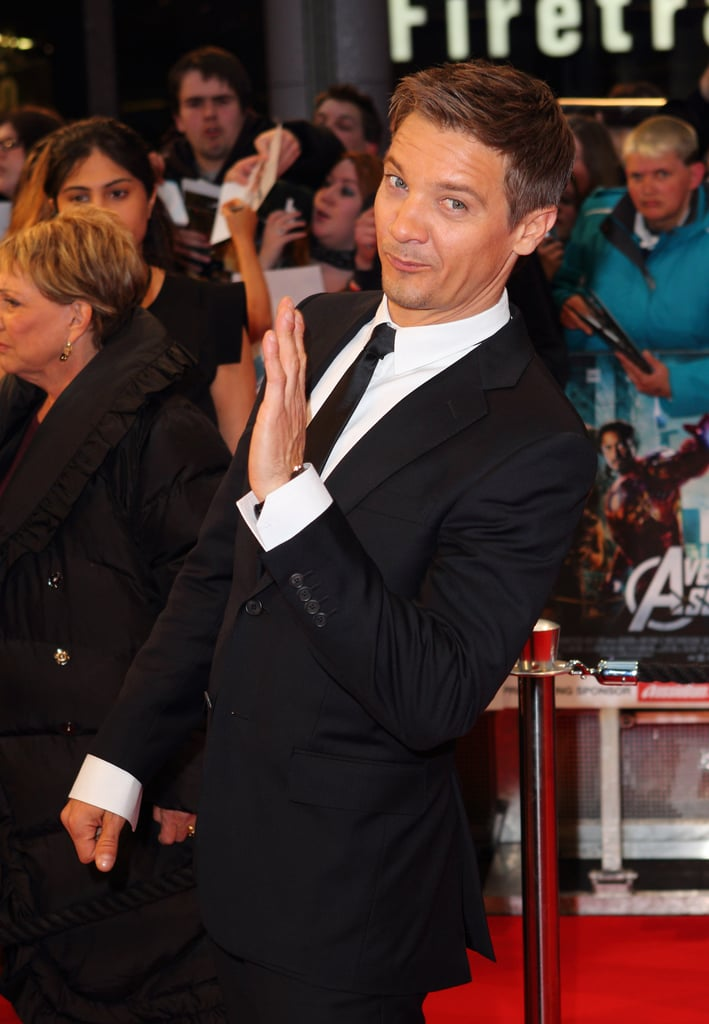 Jeremy Renner had fun at the premiere of The Avengers in London.