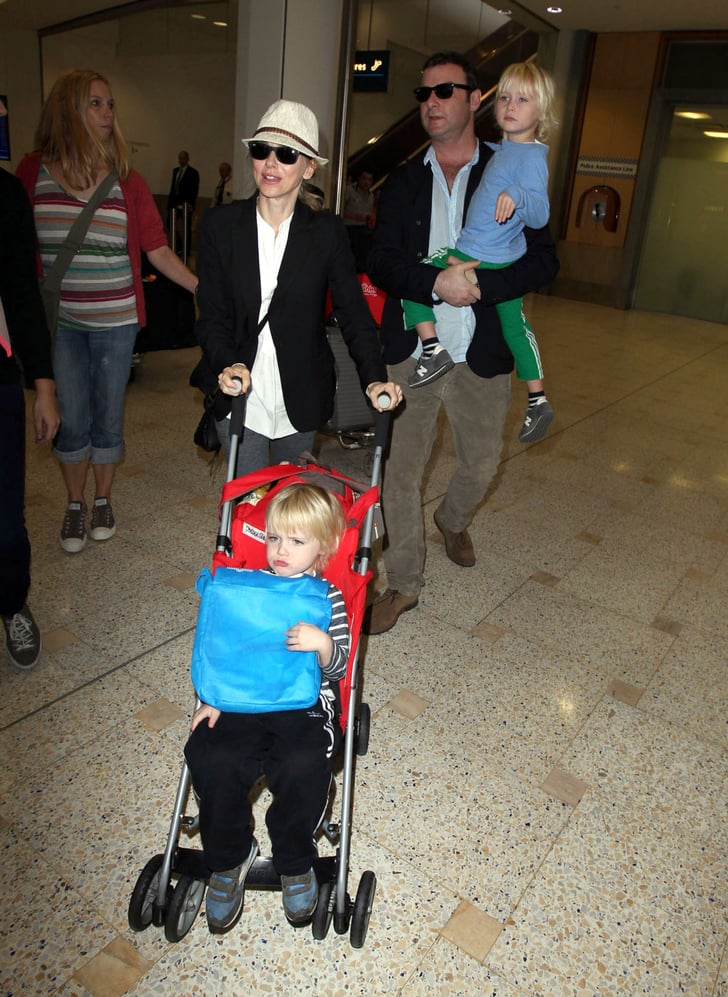 Naomi Watts and Liev Schreiber arrived in Syndey with their kids, Samuel and Sasha Schreiber.