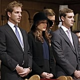 Andrea, Charlotte, and Pierre Casiraghi stood in the cathedral for a mass during celebrations marking Monaco's National Day on Nov. 19, 2012.