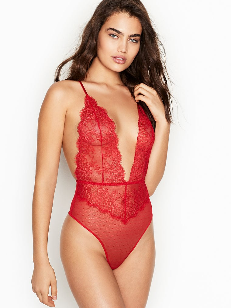 a59d9683edda0 Victoria's Secret Chantilly Lace Plunge Teddy | Sexy Red Lingerie ...