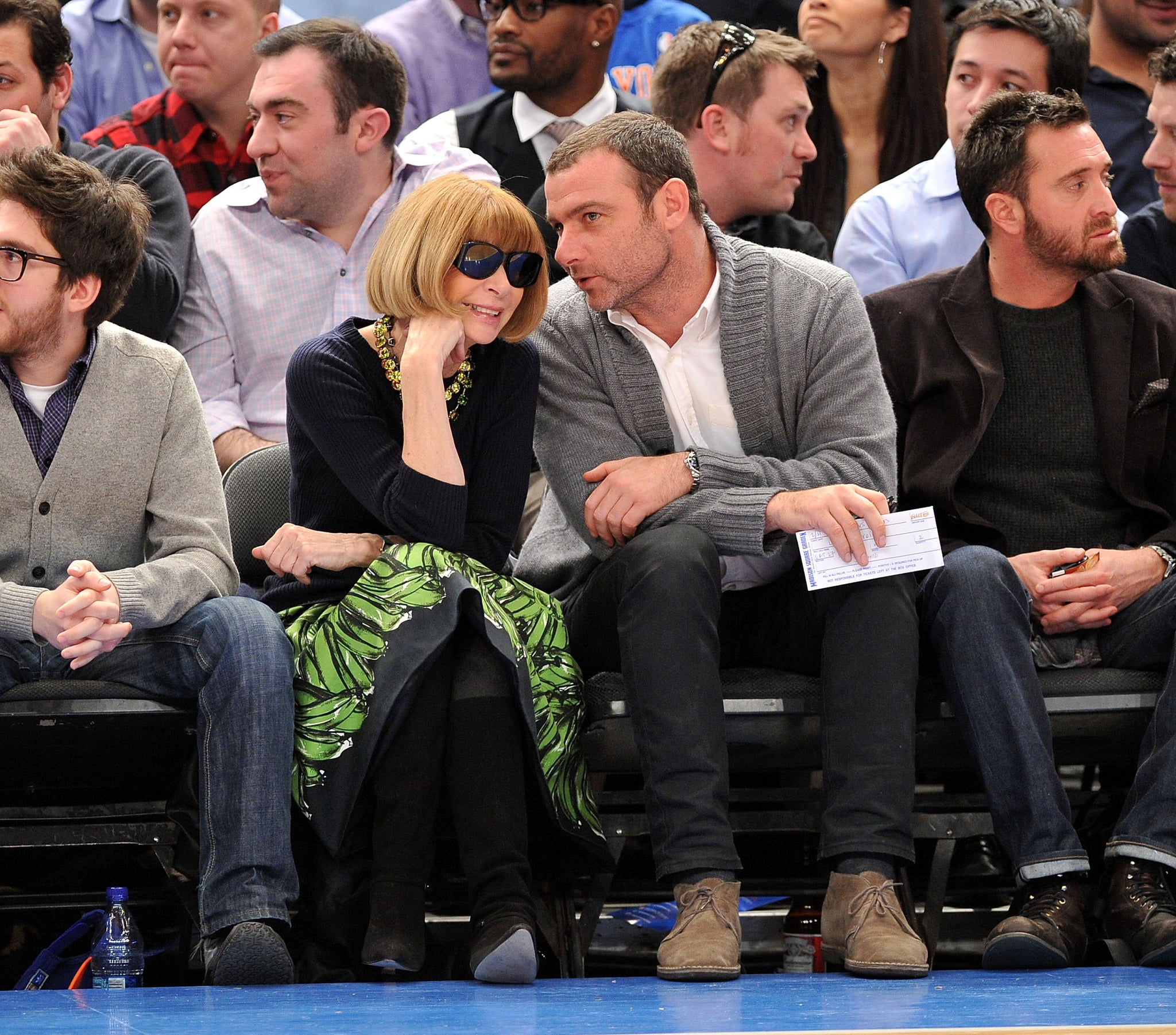 Anna Wintour sat front row with Liev Schreiber at a NY Knicks game in February 2011.
