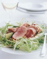 Fast & Easy Dinner: Bacon-Wrapped Tuna Steaks with Frisée Avocado Salad