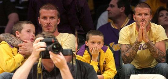 Photos of David Beckham and Romeo Beckham at the Lakers Game 5/20/2008