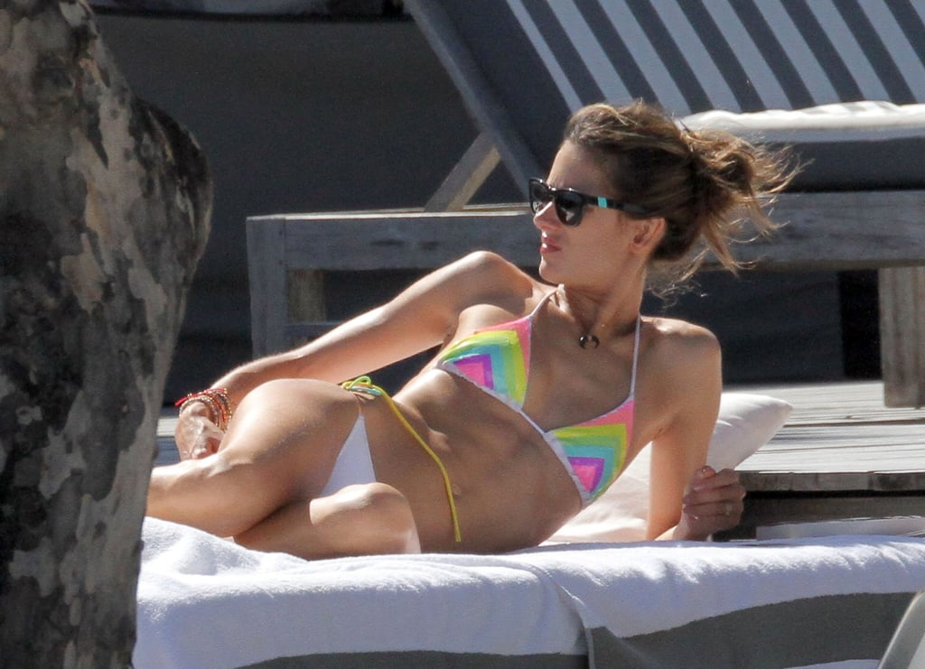 Alessandra Ambrosio showed off her abs.
